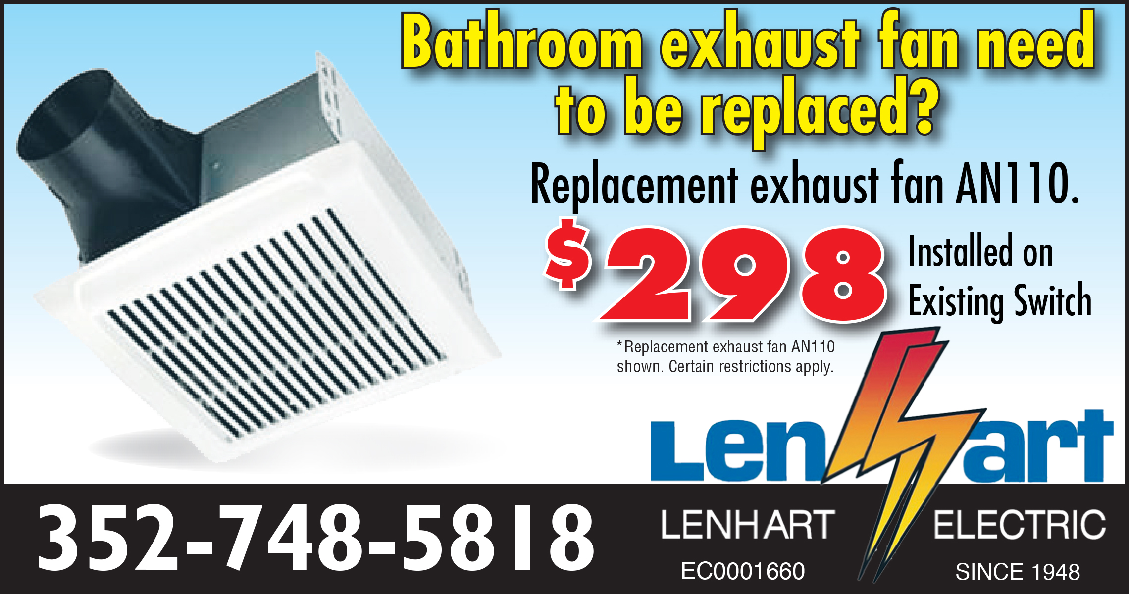 Commercial bathroom exhaust fan